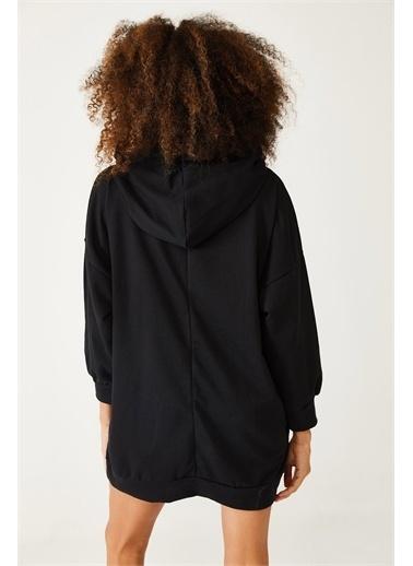 XHAN Siyah Baskılı Kapüşonlu Uzun Oversize Sweatshirt 1Kxk6-44418-02 Siyah